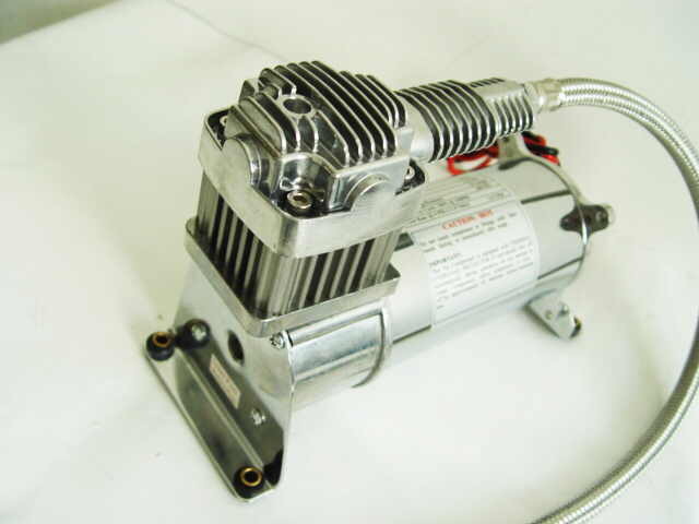 "Single 150psi 12V 1/4"" Air Suspension Compressor Heavy Duty Silver"