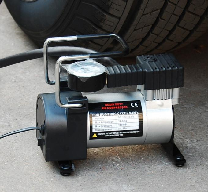 Small Metal Air Compressor 140psi Black andd Silver Pump For Car