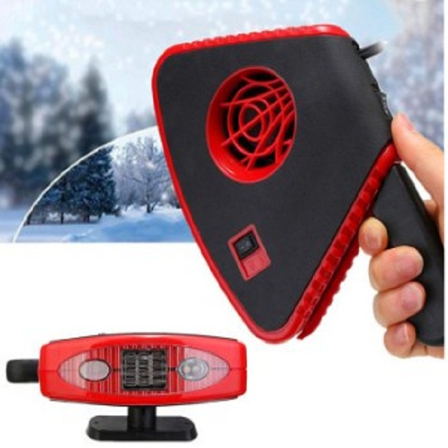 2 In 1 Auto Fan Heater With Light , Red Handheld Rechargeable Car Heater