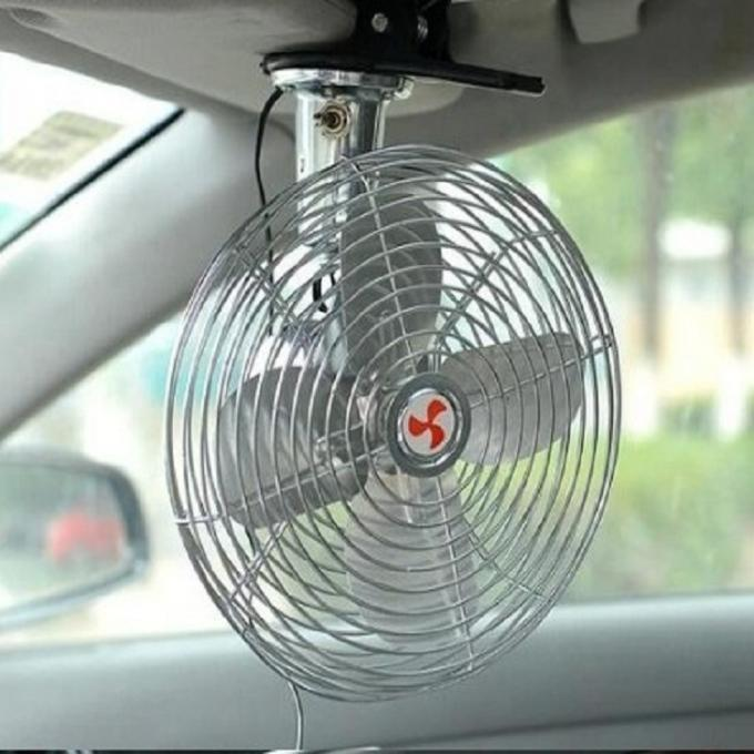 Silver Color Plastic Car Cooling Fan 6 Inch Oscillating Screw Mounting