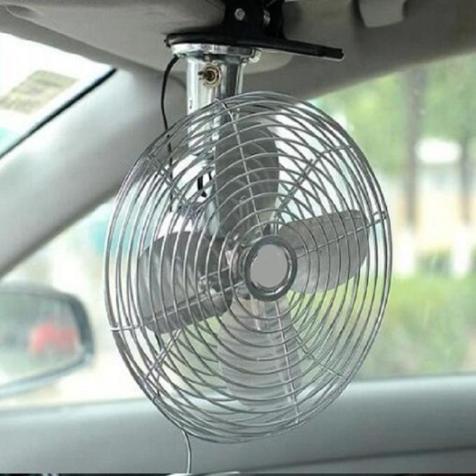 Mini Electric Car Cooling Fan 6 Inch Oscillating 12v / 24v In Silver Color