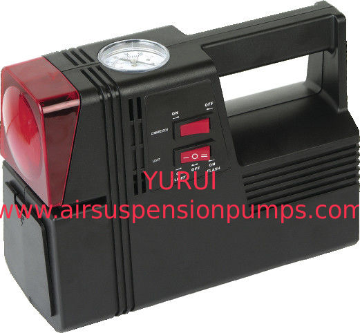 Square Black Plastic Air Compressor For Car Tyres 3 In 1 Black And Red