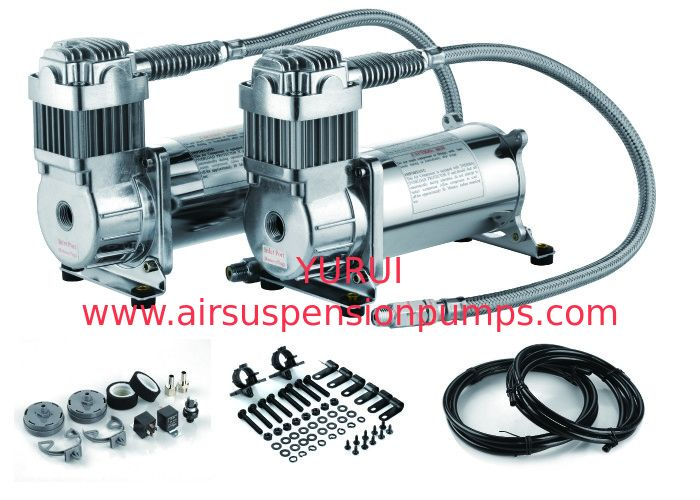 Silver 150 PSI Dual Pack Truck Air Bag Compressor For Cars YURUI YF 6470R