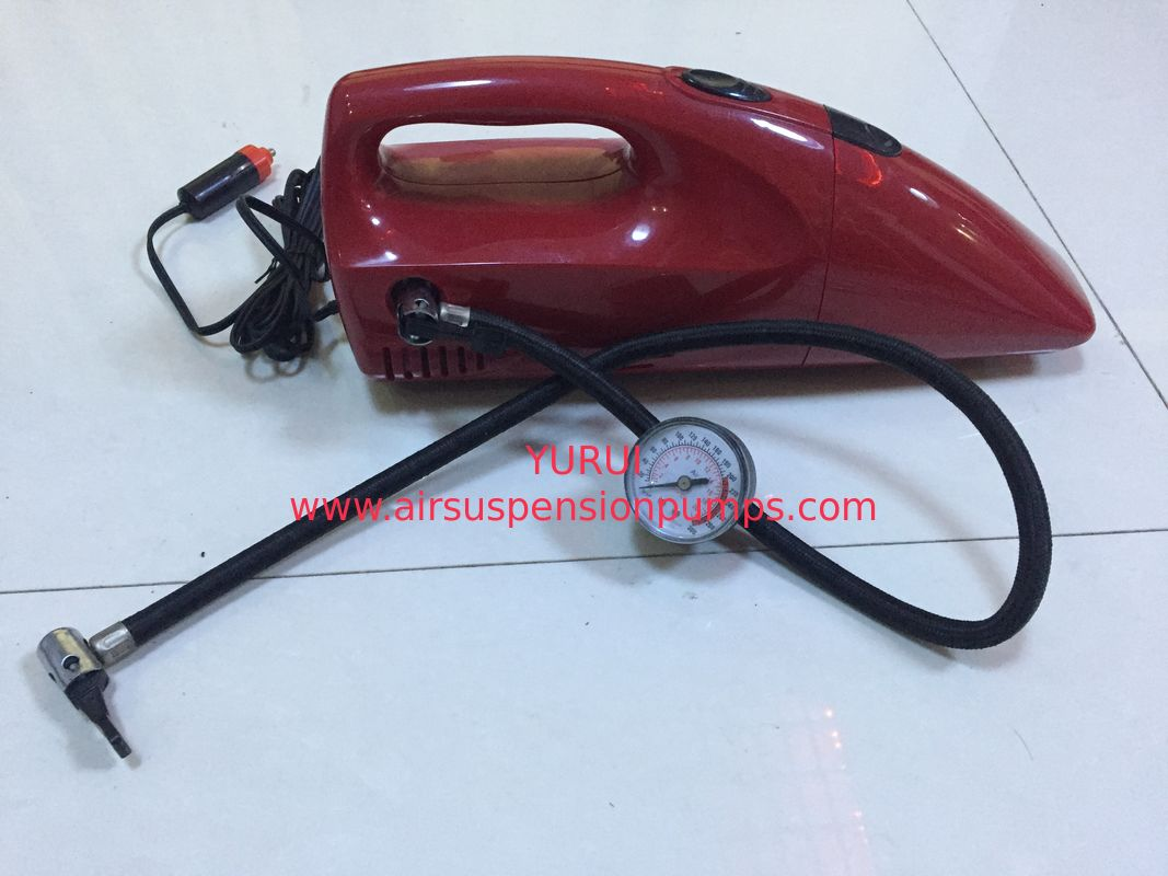 2 In 1 DC 12V Red And Yellow Fancy Portable Car Vacuum Cleaner For Car With Inflation Fuction