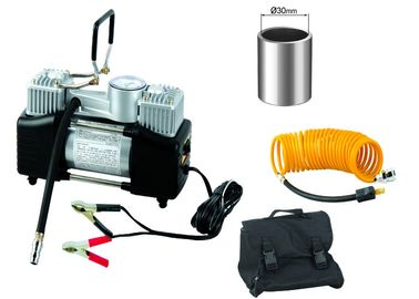 Silver And Black Steel 12v Heavy Duty Air Compressor Double Cylinder With Gauge