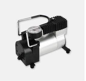China 12v Metal Portable Air Compressor For Car Black Silver Color Single Cylinder factory